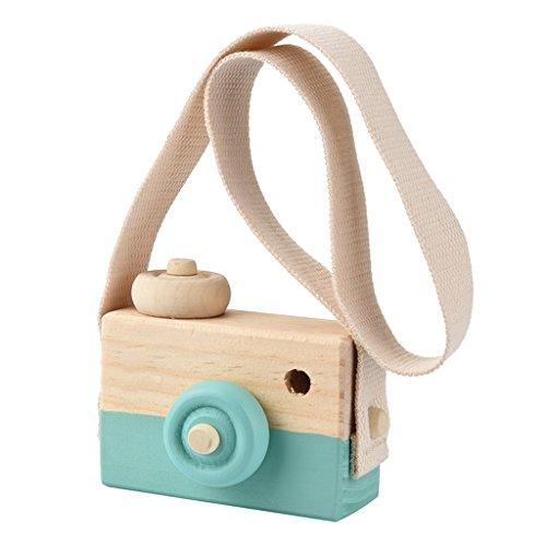 Sharplace Juguete Mini Linda Cámara de Madera Artesanía Adornos de Dormitorio Infantil - Verde