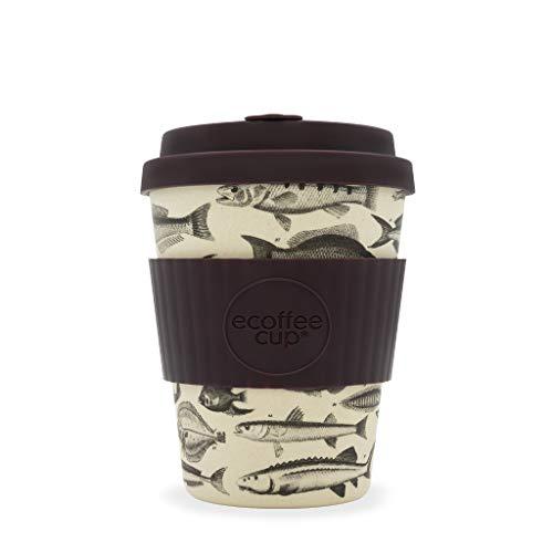 Ecoffee Cup Toolondo Fishman 340,2 gram/340 ML Poisson Motif | réutilisable en Bambou Tasse à café