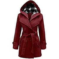 Janisramone Signore cintura con cappuccio invernale cappotto superiore Dimensioni S-4XL