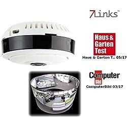 7links 360 Kamera: IP-Panorama-Überwachungskamera für 360°-Rundumsicht & Nachtsicht, 960p (Panorama Kamera)