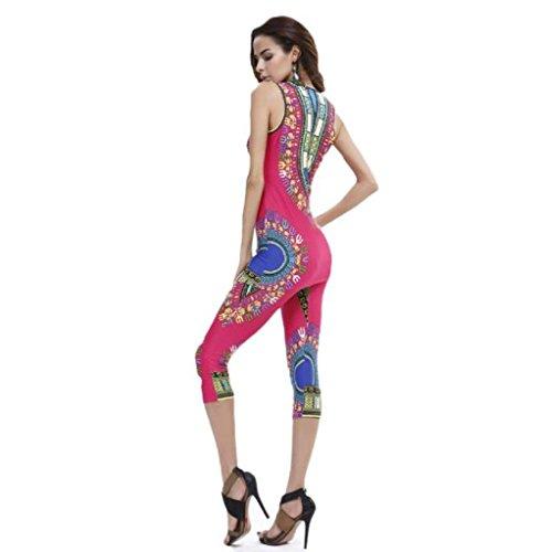 FEITONG Débardeur Femmes Mode Vintage African Tribal Print Elastic gaine et pantalon 2 Piece Set Rose vif