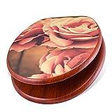 banjado Design Toilettensitz mit Absenkautomatik, WC-Sitz Holz, Klodeckel mit Metall Scharnieren, Toilettendeckel mit Motiv Vintage Rose