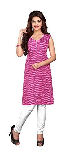 Nakoda Women's Cotton Straight kurta (210stitched--XXL, Pink, XX-Large)  available at amazon for Rs.149