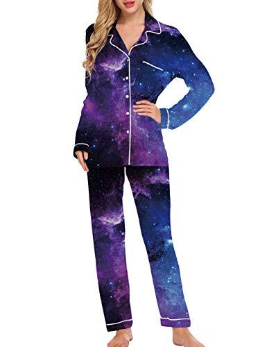 Fanient Pyjamas für Damen Langarm Nachtwäsche Galaxy Muster 3D Print Soft Button Down PJ Set mit Hosen (Damen Galaxy-pyjama-hose)