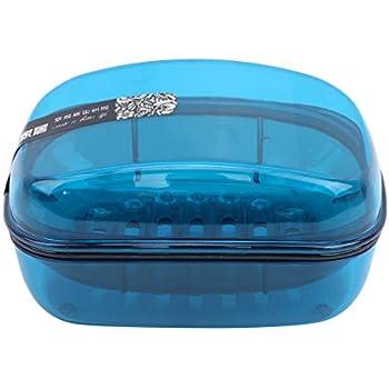 Faliya Bo/îte de rangement du savon avec couvercle Couvercle qui fuit conception Porte-savon double couche porte-accessoires de salle de bains Bleu