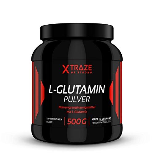 L-Glutamin Pulver 500g, geschmacksneutral hochdosiert vegan 100% rein und ohne unnötige Zusatzstoffe, Made in Germany, Aminosäure für Kraftsport, Bodybuilding, Fitness