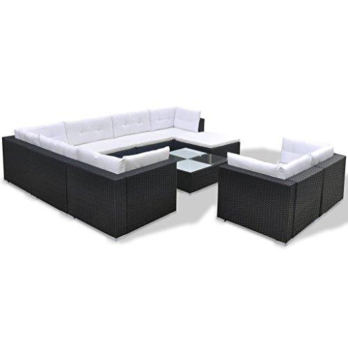 Festnight 32-tlg. Gartensofa Set mit 1 Teetisch Gartenlounge Garten Lounge-Set aus Polyrattan Loungegruppe Sitzgruppe für Terrasse Garten – Schwarz - 3