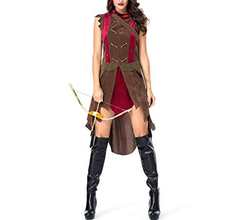 Wikinger Krieger Sexy Kostüm - Mitef Halloween Kostüm Wikinger Antik Shooter Hunter Cosplay Krieger Frauen Gr. Medium, braun