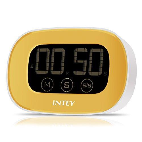 INTEY Küchentimer Eieruhr elektronischer magnetischer Küchen Timer Küchenuhr (Timer, Stopp-Uhr-Funktion, Countdown) mit großem LCD Display, lautem Alarm und Touchscreen in Gelb inkl.Batterie