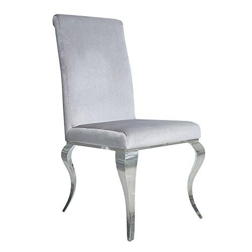 Invicta Interior Stylischer Design Stuhl MODERN BAROCK grau Stuhlbeine aus Edelstahl Samtoptik Lehnstuhl Esszimmerstuhl -