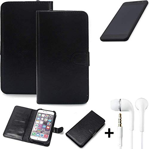 K-S-Trade Wallet Case Handyhülle für Shift Shift5.3 Schutz Hülle Smartphone Flip Cover Flipstyle Tasche Schutzhülle Flipcover Slim Bumper schwarz, 1x Ear Headphones