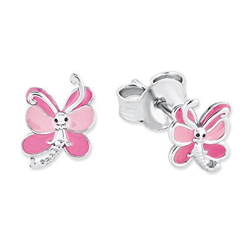 Prinzessin Lillifee Kinder-Ohrstecker Mädchen Schmetterling Tier 925 Sterling Silber rhodiniert Emaille (Prinzessin Butterfly)