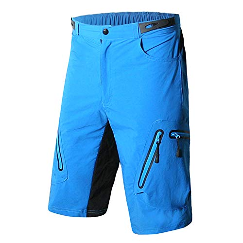 Syfinee - Pantaloncini Sportivi da Uomo, Traspiranti, Asciugatura Rapida, per Ciclismo, Corsa, Arrampicata, Blu, 3XL