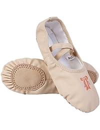 iiniim Zapatillas Ballet Clásico Cuero Bailarinas Niña Zapatos de Danza Baile Rosa/Albaricoque Talla 26-34 para Niñas Chicas