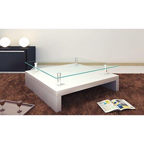 Lingjiushopping Table basse, table carrée en verre Couleur : Blanc Neige. Largeur : 77 cm.