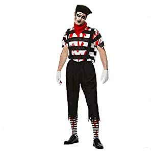 Karnival Costumes- Halloween Zombie Mime Guy Disfraz, Color blanco y negro, extra-large (84186)