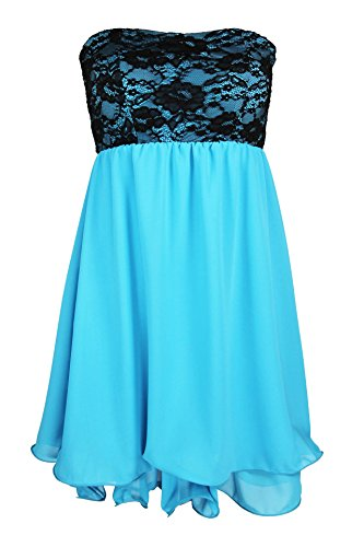Designer Damen Abendkleid mit Spitze Cocktail Partykleid Sommerkleid Etui Kleid Neu XS S M in meheren Farben Türkis