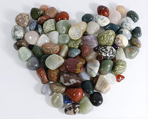 900gr. Trommelsteine, Heilsteine, Dekosteine, Steine, Halbedelsteine ca. 20 -30 mm Aus Brasilien (Ps-geschenk-karte 20)