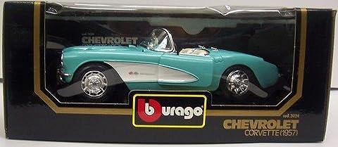 Burago 1/18 Scale diecast - 3024 Chevrolet Corvette 1957 silver / red