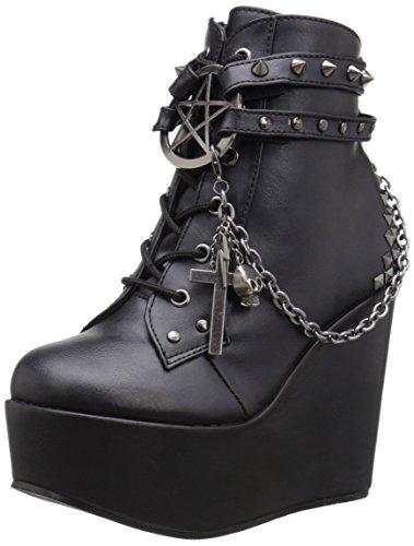 Gothic Stiefel - Demonia Damen Poison-101 Kurzschaft Stiefel, Schwarz