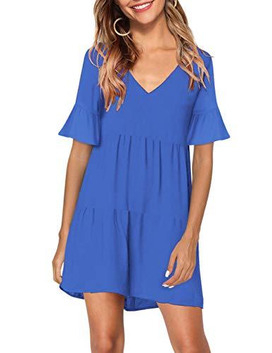 KOJOOIN Tunika Kleid Boho Bohemian Kleid Vintage Kleid Lose Casual Swing Kleid mit Gerafft Schmeichelhaft -