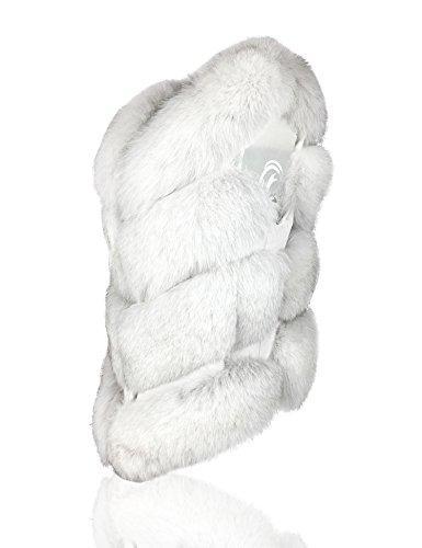 Uilor® Frauen 100% natürliche Fuchspelzweste klassische Oberbekleidung Weiß