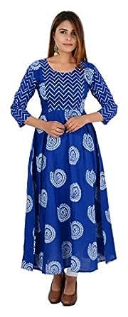 Zoeyam's Women's Cotton Anarkali Kurta (Zc0222-L, Blue, Large)