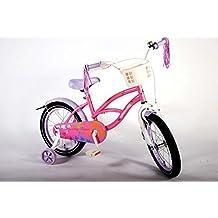 Bicicleta niña de 16 pulgadas 4 5 6 años ruedas extraíbles cesta delantera y flecos en el manillar rosa