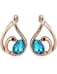 """Rolicia Bleu Cristal Tchèque """"Little Swan"""" De Plaque d'Or 2,5 * 1,5 Cm Boucles d'Oreilles Gouttes Goujons"""