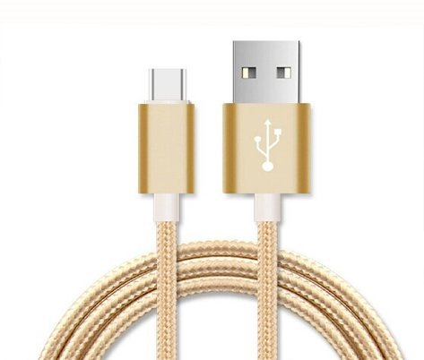 Preisvergleich Produktbild Rivero (Gold) Anti Tangle Micro USB Reversible Nylon Geflochtene High Speed Aufladen und zur Daten Syncing Transfer-Kabel 3 Meter Länge Kompatibel für Lenovo Vibe X3