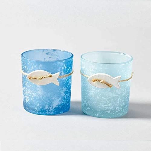 Treasured Memory 6 Kerzenhalter gesandet Teelichthalter Kerzenglas Votivkerzen Glas Kommunion Konfirmation Taufe Tischdeko Blau Maritim Sommer Strand Garten Terrasse