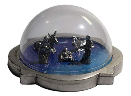 rt Miniatur Krippe und plexiglas Dome - Heilige Familie mit Ochs und Esel - Sammlerkrippe - Weihnachtsdekoration - cm 6 x 6 x H 3 ()