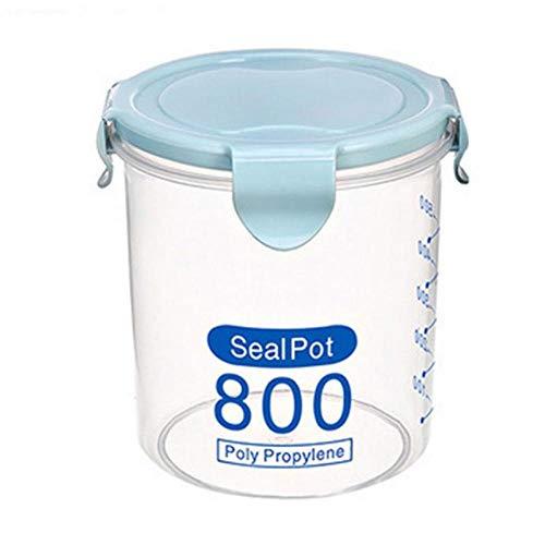 siming713 600 ml / 800 ml / 1000 ml Frischhaltedose Box Küche Aufbewahrungsbox Plastikbox versiegelt Lebensmittel Aufbewahrungsbox@Blau_1000ML