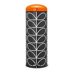Brabantia Poubelle retro bin slimline 20 litres Orla Kiely couvercle orange