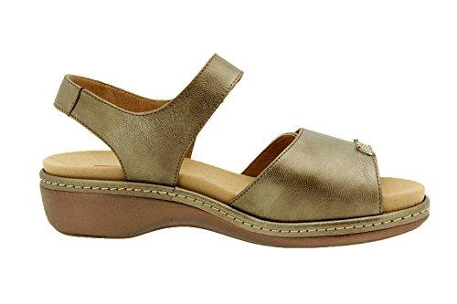 Komfort Damenlederschuh Piesanto 8802 sandale klettverschluss herausnehmbaren einlegesohlen bequem breit Taupe