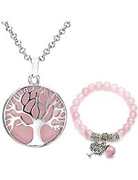 Jovivi Juego de joyas de piedras preciosas para mujer, plata y piedra de árbol de la vida, colgante redondo con cadena + pulsera de perlas de 8 mm