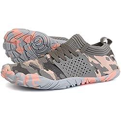WHITIN Zapatilla Minimalista de Barefoot Trail Running para Mujer Five Fingers Fivefingers Zapato Descalzo Correr Deportivas Fitness Gimnasio Calzado Asfalto Rose Camo 40 EU
