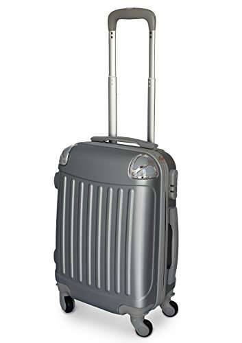 TROLLEY VALIGIA BAGAGLIO A MANO ABS CABINA RYANAIR EASY JET 4 RUOTE LOW COST NUOVO 2017 (ARGENTO)
