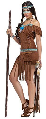 shoperama Sexy Medizinfrau Damen Kostüm in Wildleder Optik Gr. S/M Indianerin Erwachsene Squaw ()