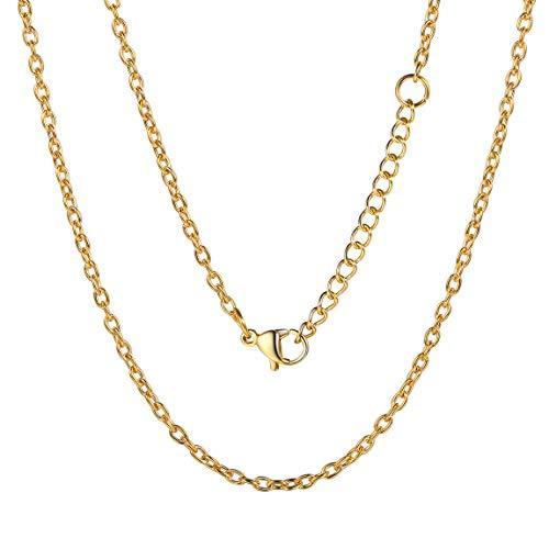 ChainsPro 316L Acero Inoxidable Joyería Maravillosa, Acero Inoxidable Chapado en Oro, Collares de Eslabones para Muchachos