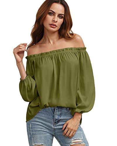Styledome donna canotta autunno camicetta maglietta spalle scoperte manica lunga blusa sexy collo barca tops verde militare 725094 l