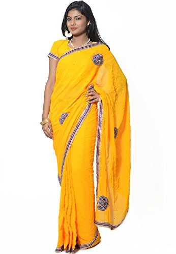 Utsav Fashion Women's Yellow Faux Georgette Pre Stitched Saree with Blouse