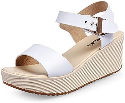 verano de plataforma Sandalia mujer/Zapatos casuales suela gruesa/Zapatos de tacón alto de los estudiantes coreanos/comodidad plana sandalia
