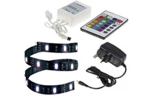 Striscia LED 12V 16 colori cangianti controllata a distanza per acquario o macchina - 15 LED 25cm 16 colori: blu, rosso, arancione, viola, verde, giallo - Include un cavo di connessione gratuito