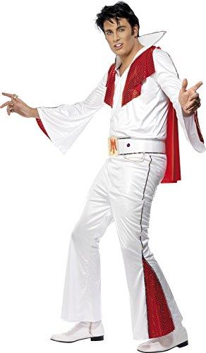 Smiffys - Costume per travestimento da Elvis, incl. maglietta, pantaloni, mantello e cintura. taglia: M, colore: Bianco