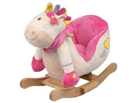 Schaukelpferd PAULA Weiß-Pink für Mädchen Schaukeltier mit Rückenlehne Wippe aus weichem Plüsch *255 (Tier Baby Bouncer)