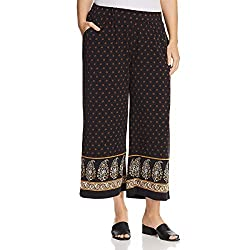 Michael Kors Womens Plus Printed High Rise Wide Leg Pants Black 3X
