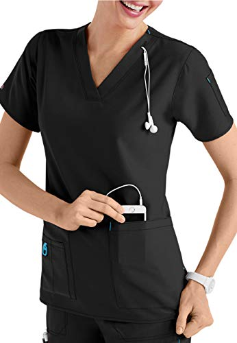 Smart Uniform Anish A110 Scrob top (M, Schwarz [Black] ST1) - Medizinische Uniformen Cherokee