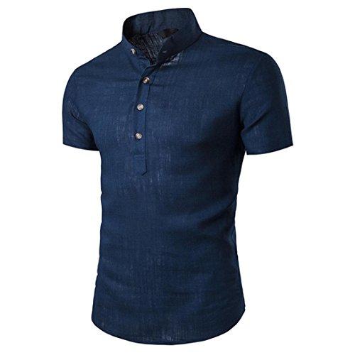 T-Shirts,Honestyi 2018 Frühling Sommer Herren T-Shirt Totenkopf Kapitän Business Slim Fit Männer Stehen Hals Kurzarm Täglichen Look Leinen Shirts Tops Bluse (EU-46/CN-XXL, Marine) (Marine Stehen)