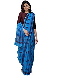 Unnati Silks Women Hand Block Printed Pure Kota Cotton Saree with blouse piece from the Weavers of Rajasthan(UNM31444+Blue+free size)